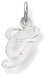 14K White Gold Small Fancy Script Initial G Charm