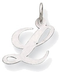 14K White Gold Small Fancy Script Initial L Charm