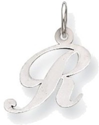 14K White Gold Small Fancy Script Initial R Charm