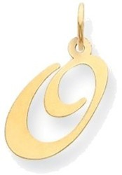 14K Yellow Gold Medium Fancy Script Initial O Charm