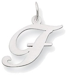 14K White Gold Medium Fancy Script Initial F Charm
