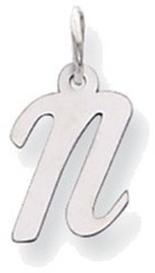 14K White Gold Small Script Initial N Charm
