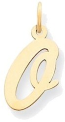 14K Yellow Gold Medium Script Initial O Charm