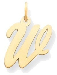 14K Yellow Gold Medium Script Initial W Charm