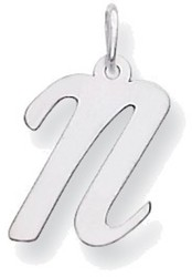 14K White Gold Medium Script Initial N Charm