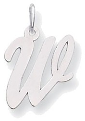 14K White Gold Medium Script Initial W Charm