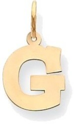 14K Yellow Gold Small Block Initial G Charm