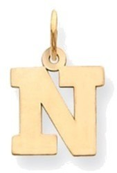 14K Yellow Gold Small Block Initial N Charm