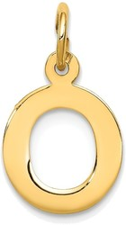 14K Yellow Gold Small Block Initial O Charm