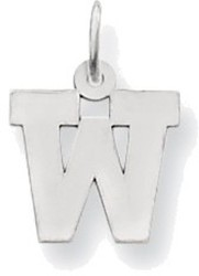 14K White Gold Small Block Initial W Charm