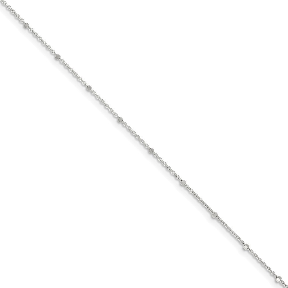 "9"" Sterling Silver 1.25mm Rolo with Beads Anklet"