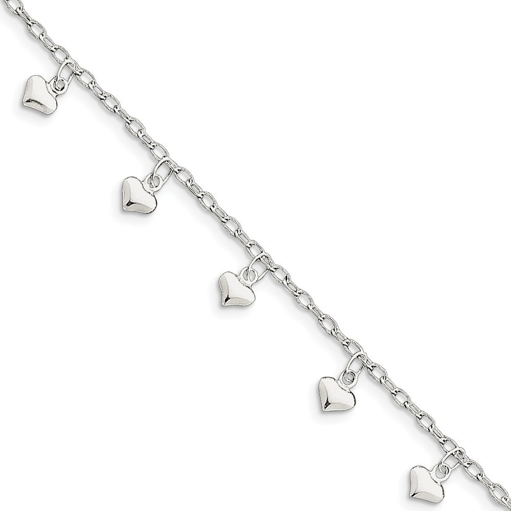 "9"" Sterling Silver Polished Puffed Dangle Heart Anklet"