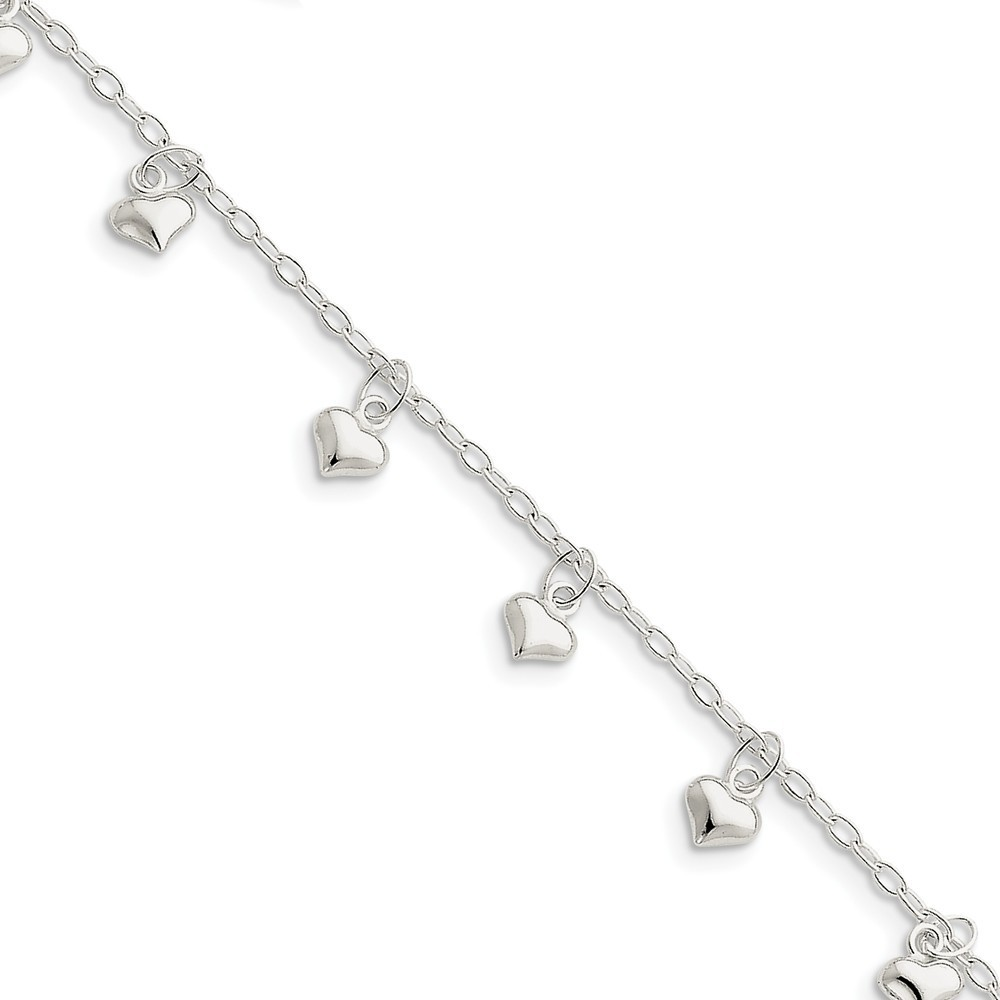 "10"" Sterling Silver Polished Puffed Heart Anklet"