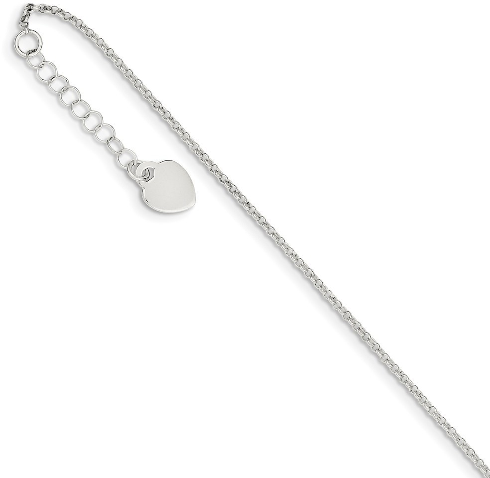 "9""+1"" Sterling Silver Polished Chain with Heart Charm Anklet"