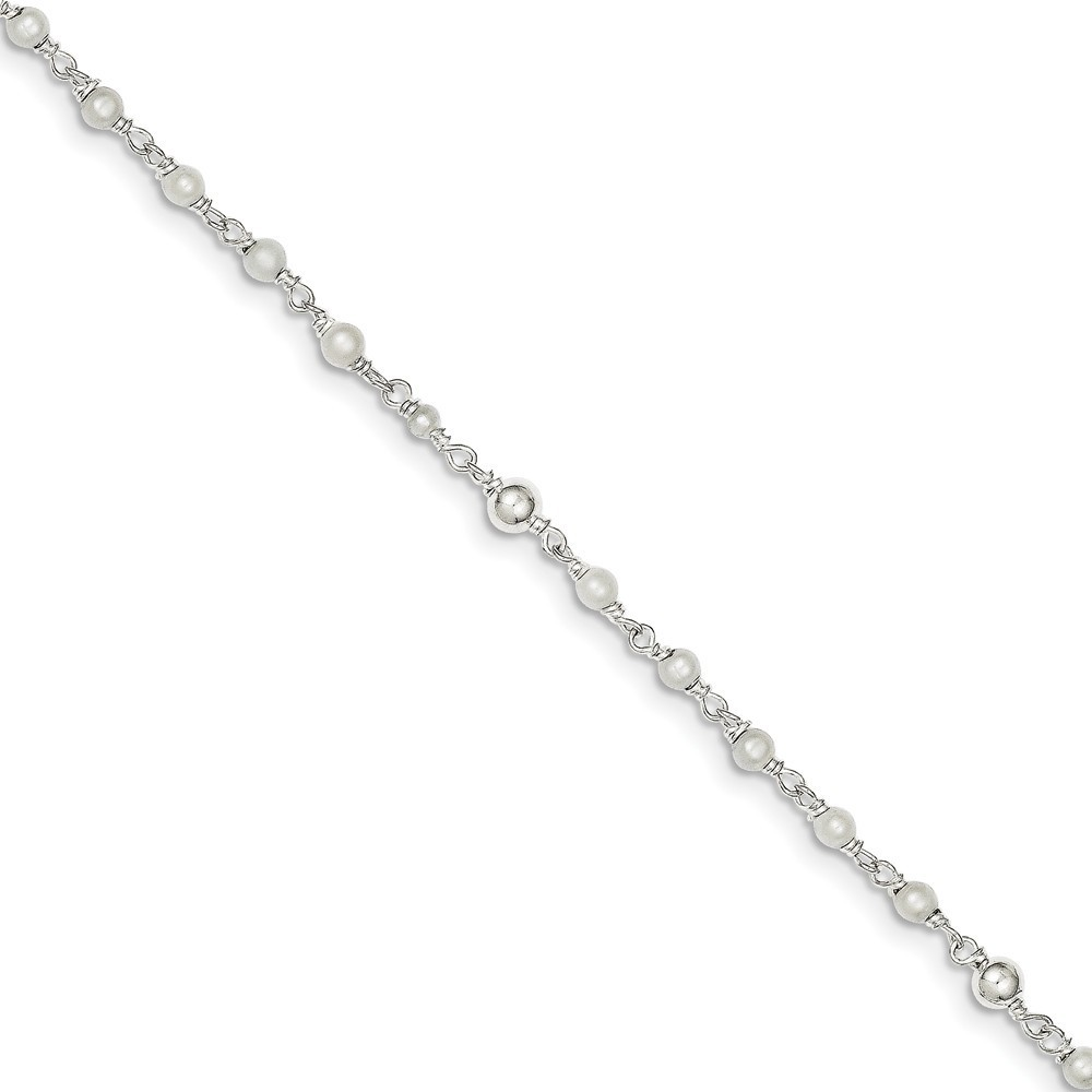 "10"" Sterling Silver Polished Cultured Freshwater Pearl & Heart Anklet"