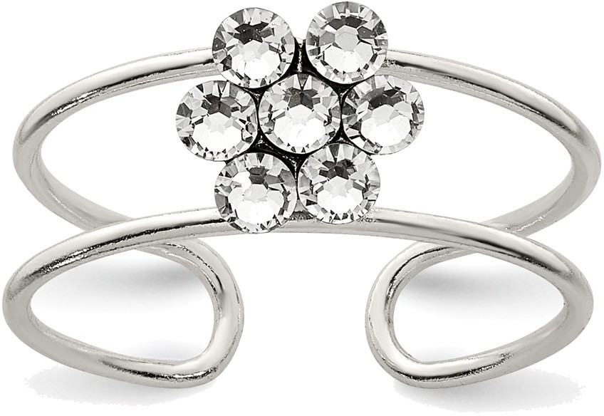 Sterling Silver CZ Flower Toe Ring