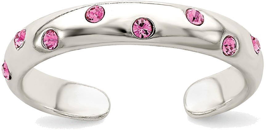 Sterling Silver Multi Bezel Set Pink CZ Toe Ring