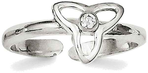 Sterling Silver CZ Polished Trinity Symbol Toe Ring