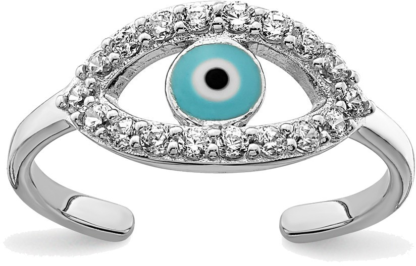 Rhodium-Plated Sterling Silver Enameled & CZ Eye Toe Ring