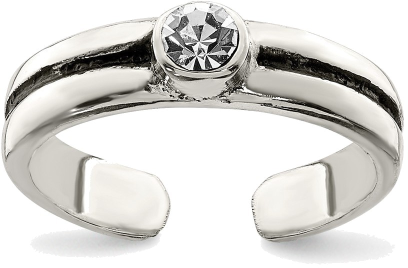 Sterling Silver Round Single CZ Antiqued Toe Ring