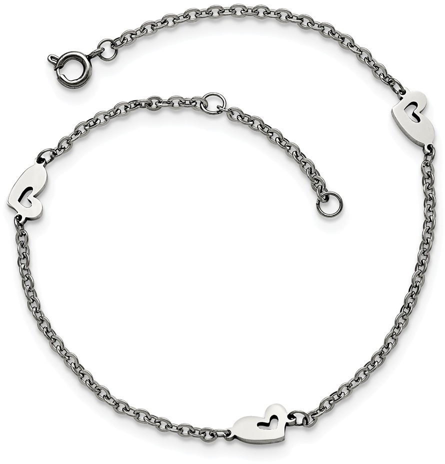 "9""+1"" Polished Stainless Steel Hearts Anklet"