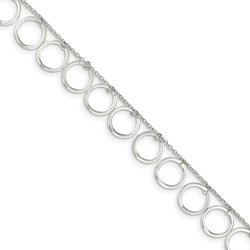 10 Sterling Silver Dangle Circles Anklet