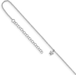 11+2 Rhodium-plated Sterling Silver Synthetic CZ Star Anklet