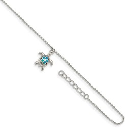 9+1 Rhodium-plated Sterling Silver Synthetic Blue Opal Turtle Anklet