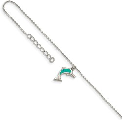 9+1 Rhodium-plated Sterling Silver Synthetic Blue Opal Dolphin Anklet