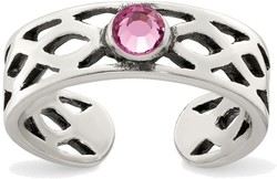 Sterling Silver Antiqued w/ Pink CZ Toe Ring