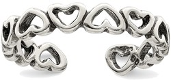 Sterling Silver Up Down Cutout Heart Toe Ring