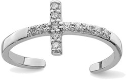 Rhodium-Plated Sterling Silver CZ Cross Toe Ring