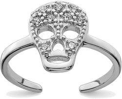Rhodium-Plated Sterling Silver CZ Skull Toe Ring