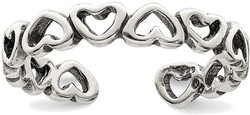 Sterling Silver Polished and Antiqued Adjustable Heart Toe Ring