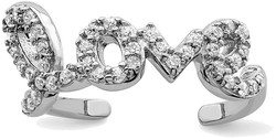 Rhodium-Plated Sterling Silver CZ Love Toe Ring