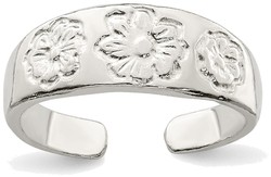 Sterling Silver w/ Flower Design Casted Toe Ring
