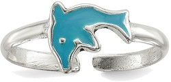 Sterling Silver Polished Enameled Dolphin Toe Ring