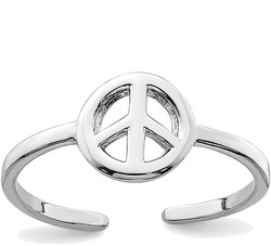 Rhodium-Plated Sterling Silver Peace Sign Toe Ring