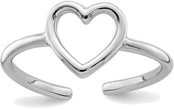 Rhodium-Plated Sterling Silver Polished Heart Toe Ring