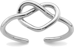 Rhodium-Plated Sterling Silver Polished Heart Knot Toe Ring