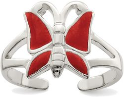 Sterling Silver Antiqued Red Enameled Butterfly Toe Ring