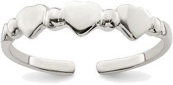 Sterling Silver Multiple Hearts w/ Bead Design Toe Ring