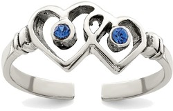 Sterling Silver Antiqued Blue CZ Heart Toe Ring