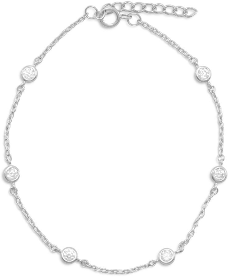 9+1 Extension Rhodium Plated 6 Bezel Set CZ Anklet 925 Sterling Silver