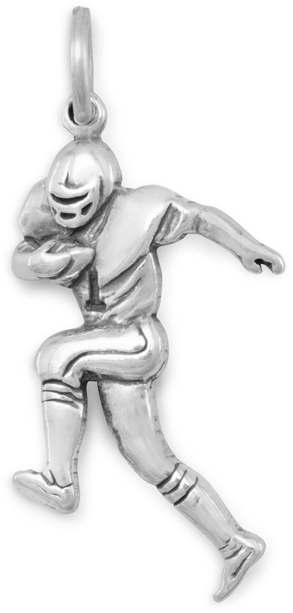Football Player Charm 925 Sterling Silver