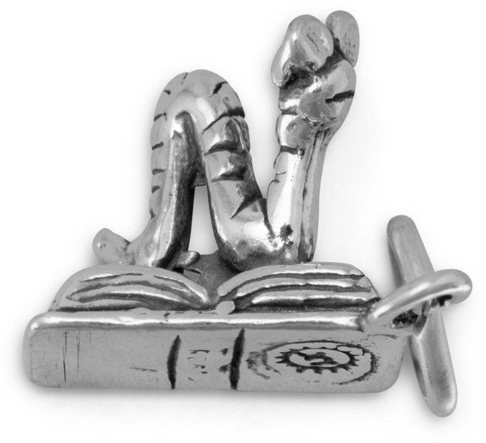Bookworm Charm 925 Sterling Silver
