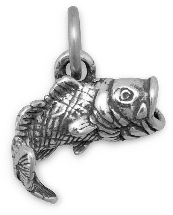Large Mouth Bass Charm 925 Sterling Silver