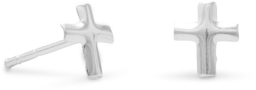 Small Polished Cross Post Earrings 925 Sterling Silver