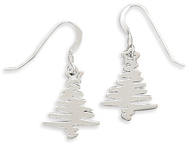Zig Zag Holiday Tree Earrings 925 Sterling Silver - LIMITED STOCK