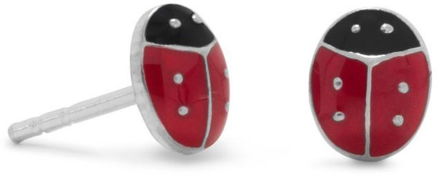 Red and Black Enamel Ladybug Post Earrings 925 Sterling Silver